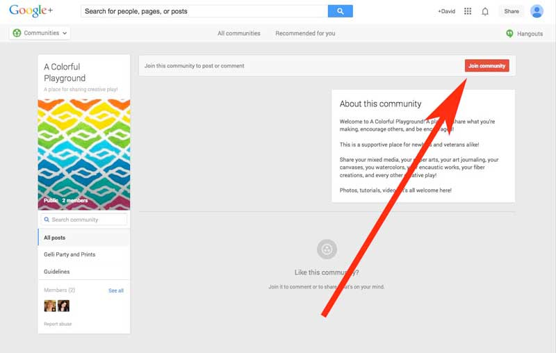 How to use a Google+ community