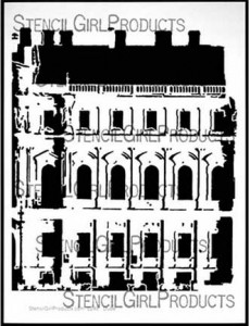 1700s building stencil by Carolyn Dube for StencilGirl Products