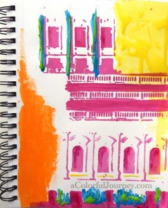 buildings stencil play in an art journal by Carolyn Dube