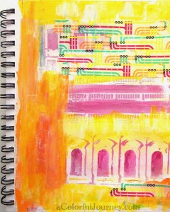 Step-by-step buildings stencil play with washi tape in an art journal by Carolyn Dube