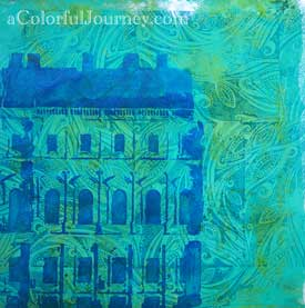 Video tutorial using rubber stamps and stencils together on a Gelli print by Carolyn Dube