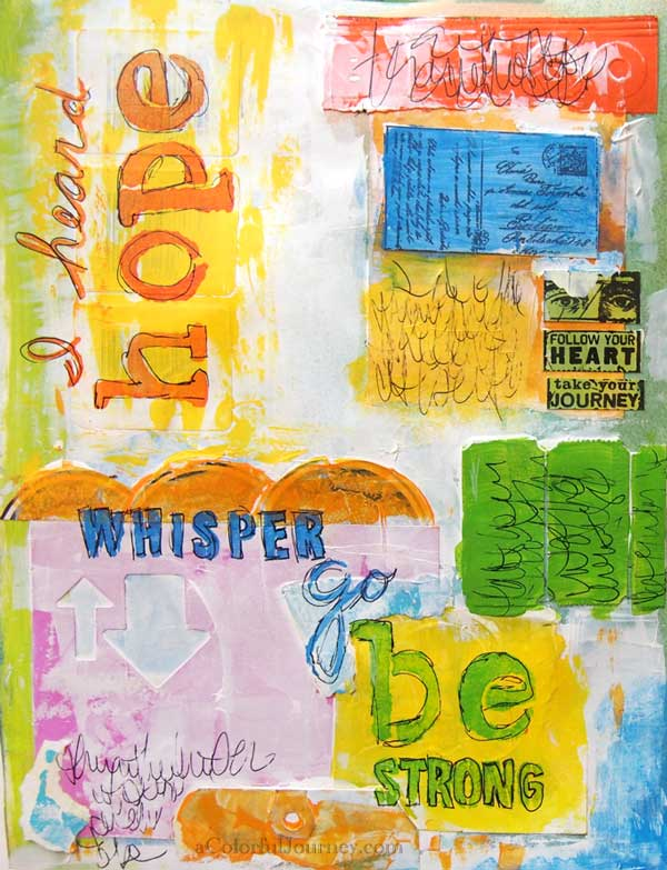 Video showing how I used a word stencil in an art journal page by carolyn dube