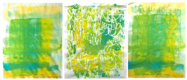A Colorful Gelli Print Party video using fabric on the Gelli Plate