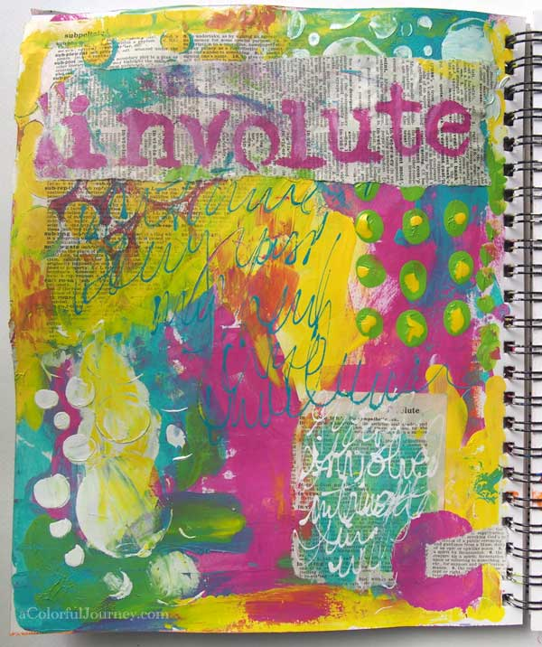 My art journal page was inspired by the National Spelling Bee and a scrap of paper.