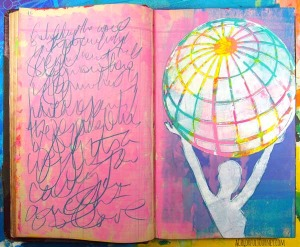 Video showing how imperfect can be perfect using a gelli print in an art journal