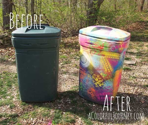 Spray Painting A Trash Can With Chalk Paint And Stencils Carolyn Dube