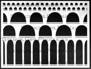 Arched Aqueducts stencil by Carolyn Dube for StencilGirl Products