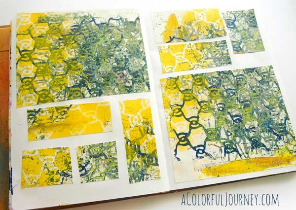 I'm sharing my process and thought in my head as I art journal with spray painted papers