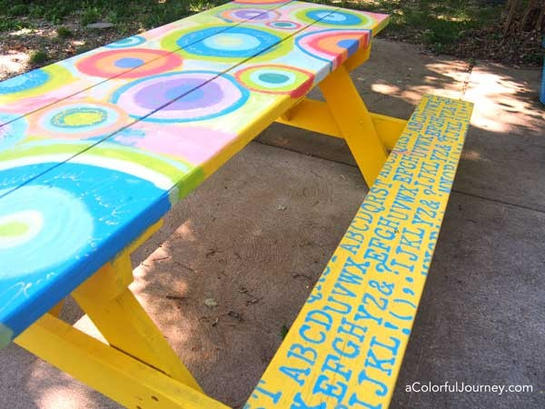 Stencil Painted Picnic Table Interior Design D - Picnic table paint colors