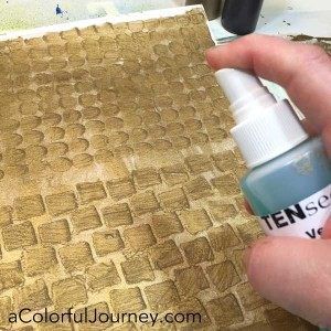 Carolyn plays with VerDay paint and patina to turn paper into old rusted pattern with a stencil in a fun  video