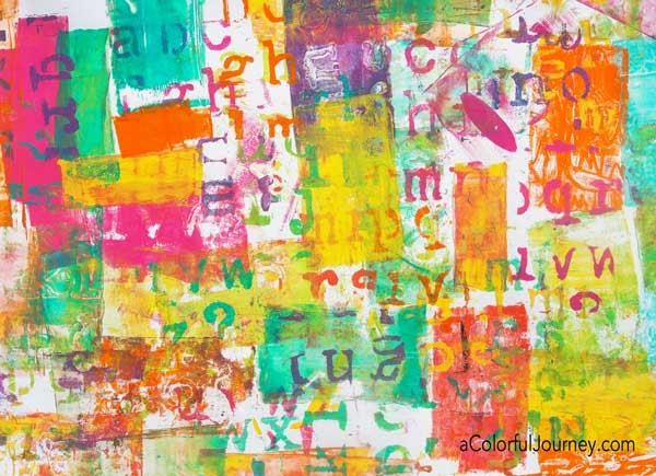 Video Using a Little Gelli Plate® and a Big Stencil for Happy Art Play