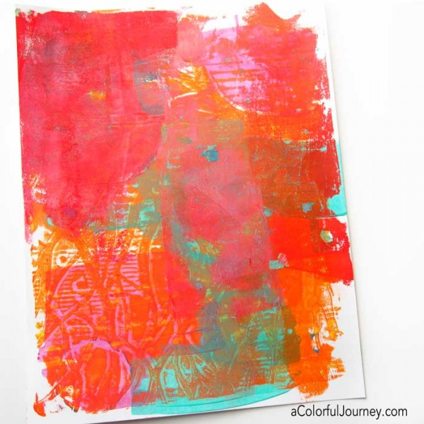Video capturing the artistic battle between the right and left sides of Carolyn's brain as she makes an art journal page on a Gelli print!