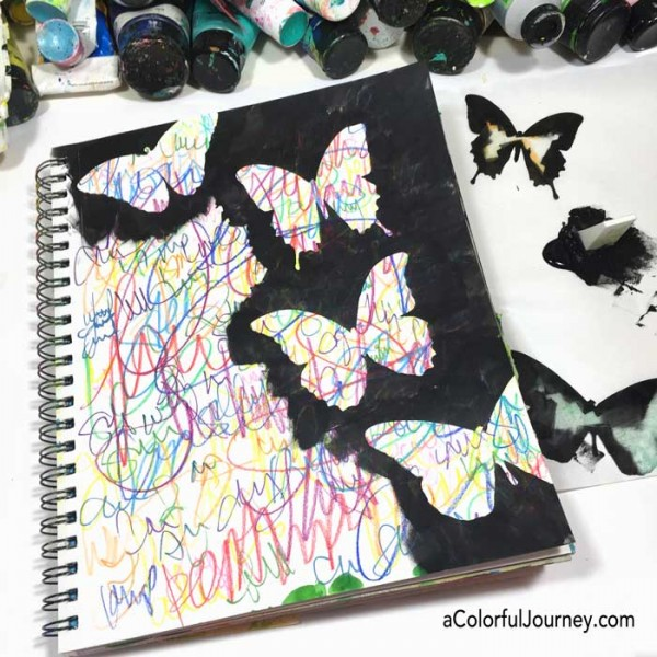 Video of colorful scribbling, used as her morning pages, is transformed with a butterfly stencil and paint.