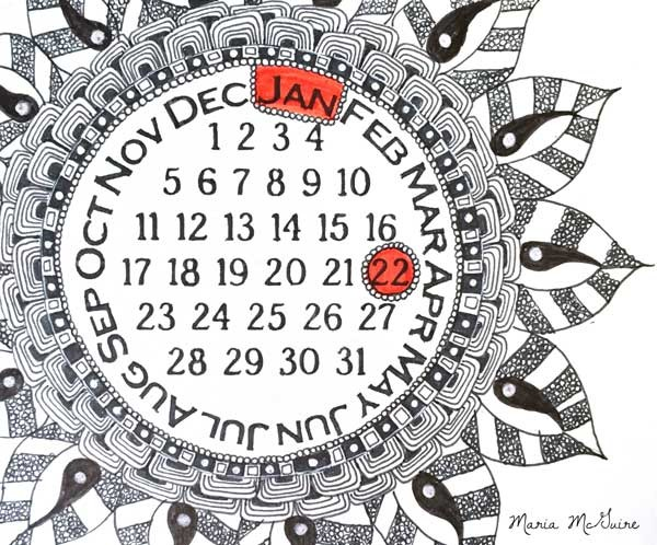 Doodled with a Never Ending Calendar Stencil