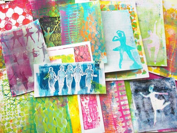Reverse Gelli Printing® workshop with Silhouettes and Stencils with Carolyn Dube