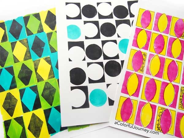 Video showing 3 ways to use a bold patterned stencil to get colorful looks easily!
