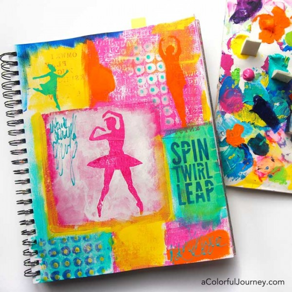 video tutorial sharing how to use masks and stencils to make a colorful art journal page - Colorful Art