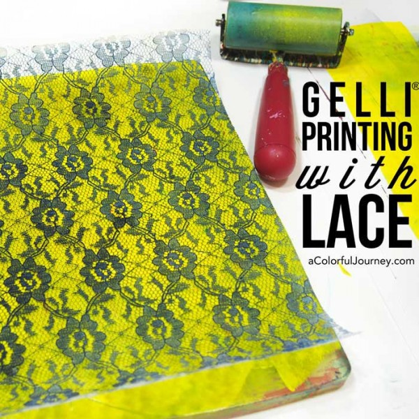 How to make textured and patterned Gelli prints® with cheap lace video for the week's Let's Play link party!
