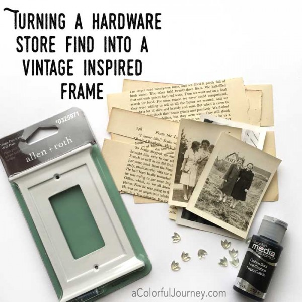 Video sharing how a hardware store switch plate can become a vintage inspired frame or shrine for this week's Let's Play link party with Carolyn Dube