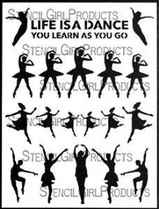 Learning to Dance stencil by Carolyn Dube for StencilGirl Products