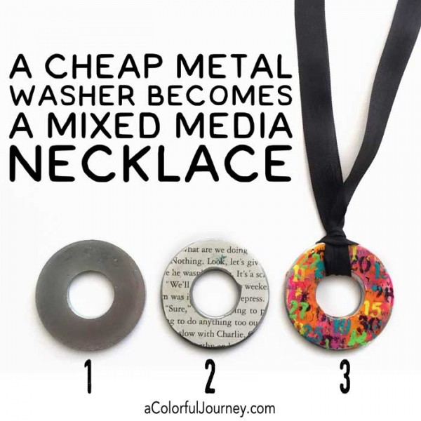 Video sharing how to turn a cheap metal washer into a mixed media necklace for this week's Let's Play link party by Carolyn Dube