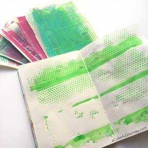 Video tutorial using supplies from the hardware store with a Gelli Plate® in an art journal for the Let's Play link party