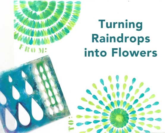 How to use a raindrop stencil to easily make flowers