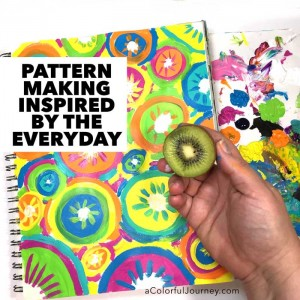 Making patterns in an art journal inspired by everyday objects video tutorial by Carolyn Dube