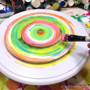 How to use a spinning Gelli Plate® to make colorful prints…I was mesmerized by the spinning colors!