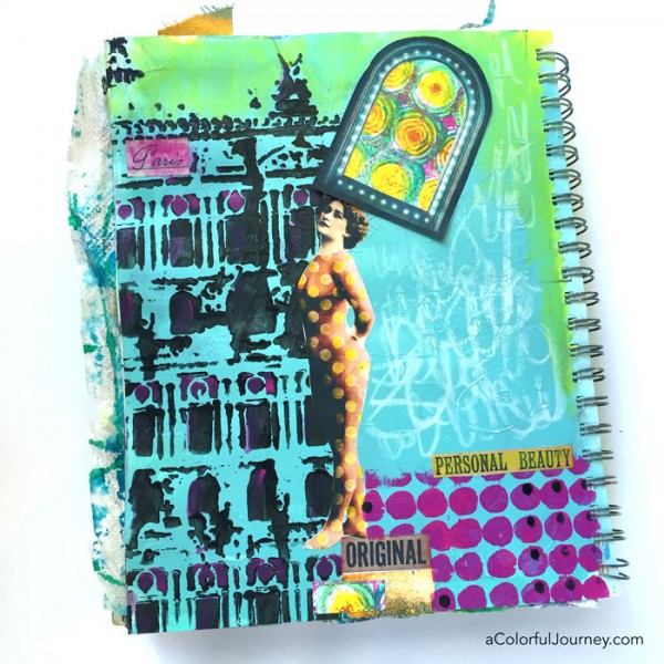 Paris Polka Dots...an art journaling tutorial using printable collage elements and stencils by Carolyn Dube