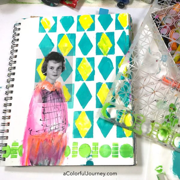 art-journaling-vintage-photos-stenciling-carolyn-dube-4