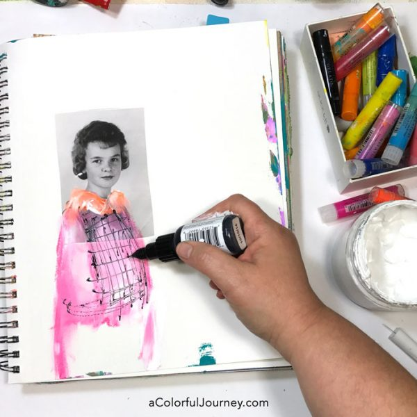 art-journaling-vintage-photos-stenciling-carolyn-dube