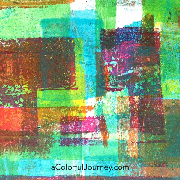 Gel printing with stencils tutorial sharing how to build up layers in an art journal by Carolyn Dube