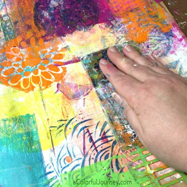 Using a gel plate, stencils, and a paper bag to make a giant piece of colorful paper