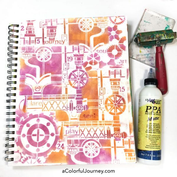 How to Seal PanPastels with a Gel Press Plate on a Steampunk stenciled art journal page!