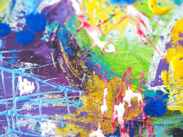 Colorful mixed media play by Carolyn Dube