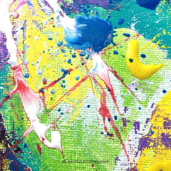 Colorful mixed media play by Carolyn Dube