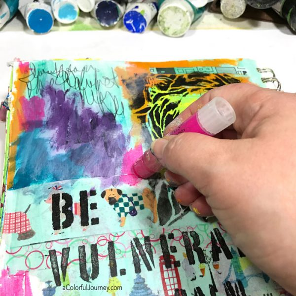 Using washi tape and stencils and an OOPS to build an art journal page tutorial by Carolyn Dube