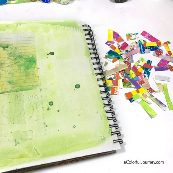 Using leftover bits to make an art journal page tutorial one oops at a time by Carolyn Dube