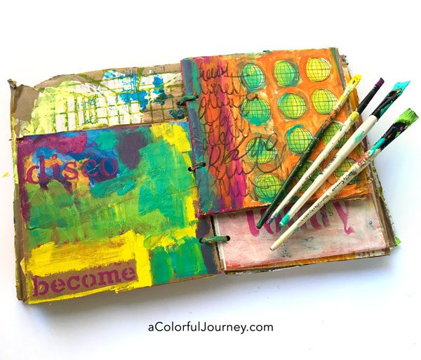 Playing in a cardboard art journal with color and pattern video tutorial by Carolyn Dube