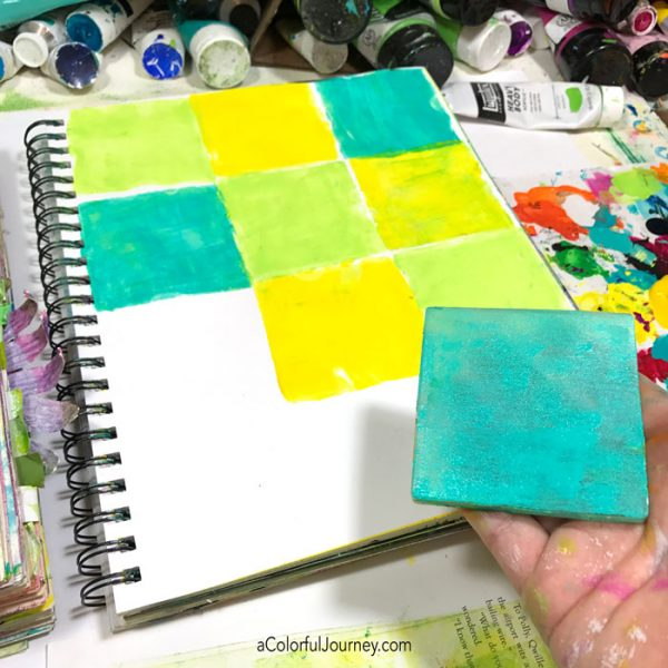 Using a gel plate to make a grid inspired by Matisse's cut outs tutorial by Carolyn Dube