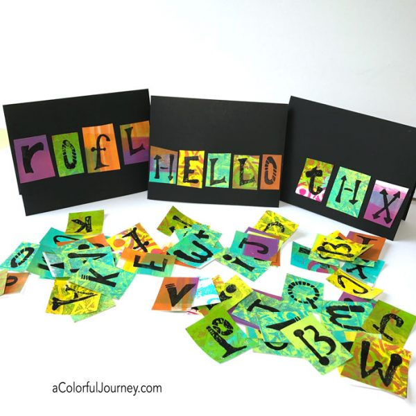 Cardmaking using gel prints and an alphabet stencil tutorial by Carolyn Dube