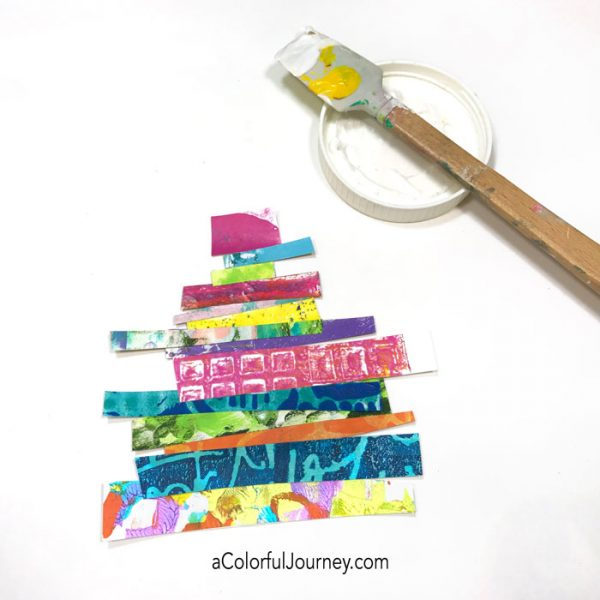 Using gel prints to make a holiday card tutorial by Carolyn Dube