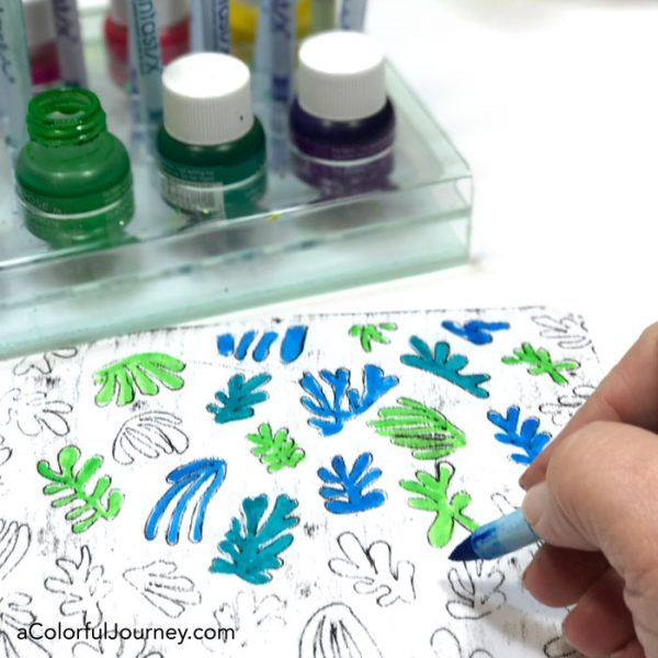 Coloring in Cutouts Inspired by Matisse with Fantastix creating colorful patterned paper by Carolyn Dube
