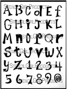Ransom Alphabet stencil designed by Carolyn Dube for StencilGirl Products