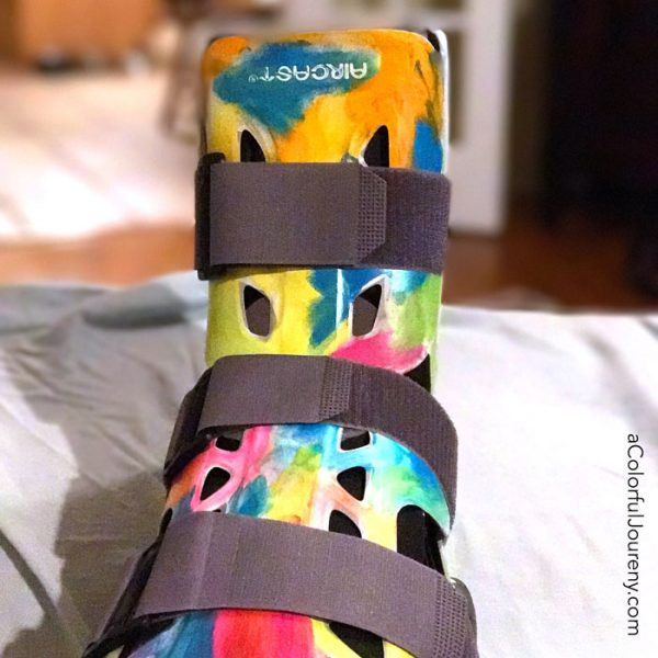 OOPS...I broke an ankle and got the boot, but decided to give it a little color by Carolyn Dube