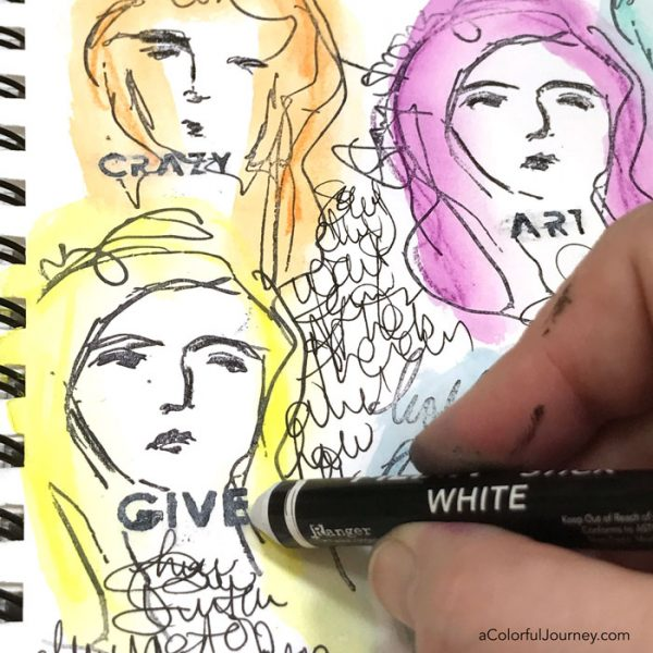 Using Scribble Sticks  by Dina Wakley in a stenciled and stamped art journal page tutorial by Carolyn Dube