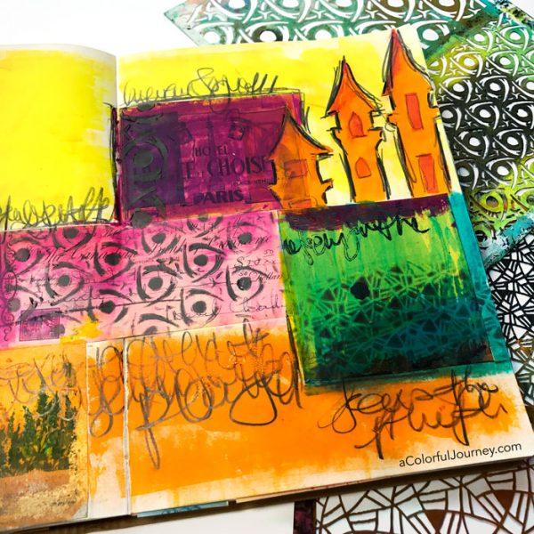Getting lost in my art journal with color, Gelatos, stencils, and collage by Carolyn Dube