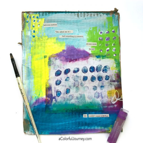 Using found poetry and a Spark of Art-spiration in an art journal page by Carolyn Dube