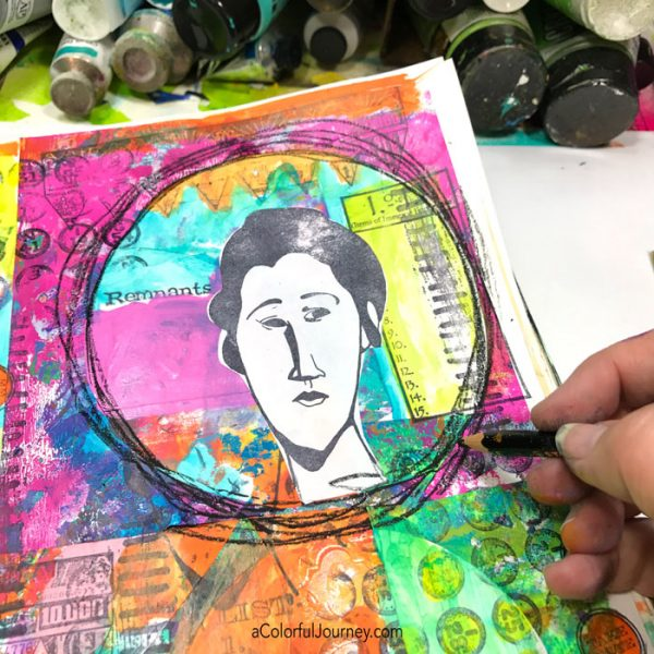 There were so many OOPSies on this page that started by randomly collaging scraps...the rubber stamping OOPS, the ugly pink OOPS, and more! Video by Carolyn Dube